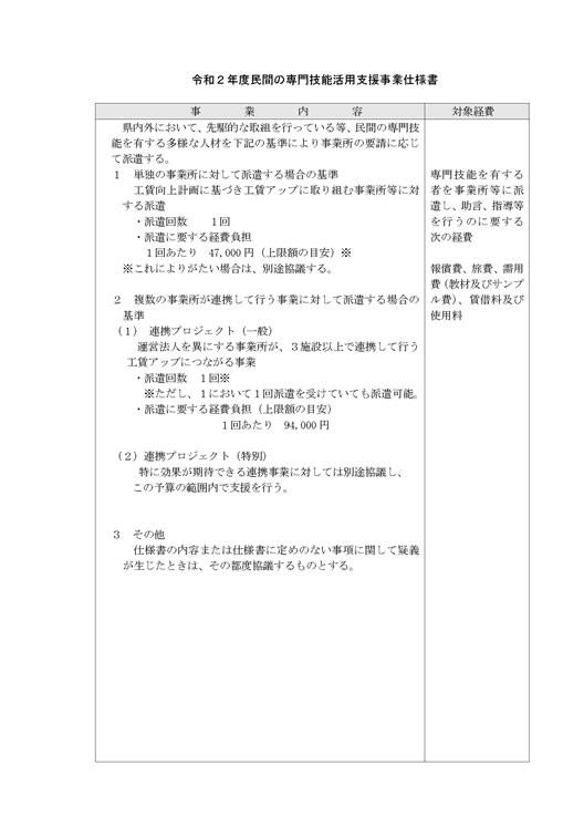令和2年度民間の専門技能活用支援事業仕様書